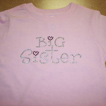 Big sister beautiful rhinestone bling pink girls shirt long sleeve size choice new siblings sister announcement