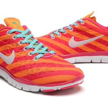 Women's Nike Free TR FIT 3 Print Strip Limited Training Shoes Orange/Rose Red