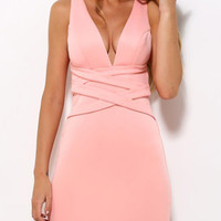 Pink Plunge Neck Cross Strap Detail Bodycon Dress
