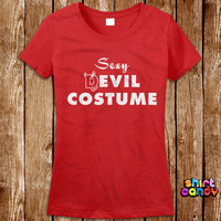 Sexy Devil Halloween Costume T shirt Ladies House Party Funny Bar Dress Up Tee Nerd Geek Womens Scary Girl Trick Or Treat Spooky Witch Gift
