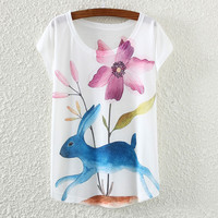 White Short Sleeve Rabbit&Flower Print T-Shirt