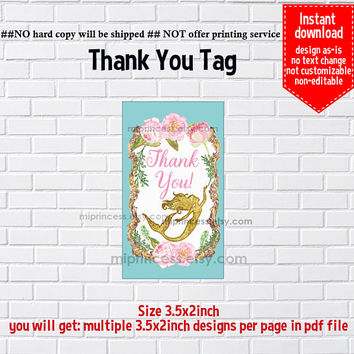 Instant Download, mermaid #1087 , vintage thank you gift, alice party, Thank you TAG, 3.5x2inch printable  , non-editable NOT CUSTOMIZABLE