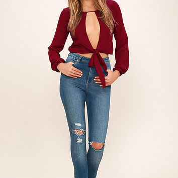 Hanging by a Moment Wine Red Long Sleeve Crop Top