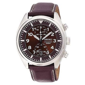 Seiko Mens Chronograph - Brown Dial - Brown Leather Strap - Sub-Second Dial