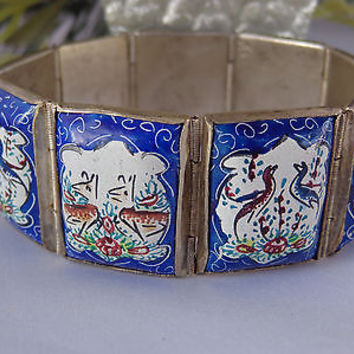 VTG Persian Silver? Hand Painted Enamel Panel Bracelet Deco Storybook 39g SIGNED