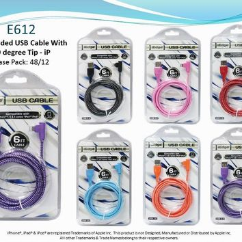 6Ft 90 Degree Braided iPhone USB Cable - CASE OF 48