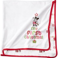 Disney Baby-Girls Newborn Minnie Mouse My First Christmas Reversible Blanket