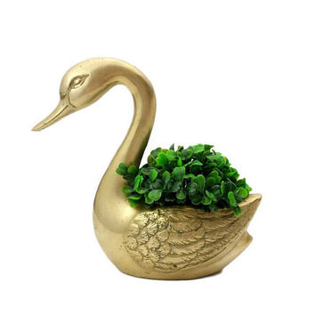 Brass Swan Planter Vintage Decorative Indoor Flower Pot Boho Decor Air Plant Succulent Holder Cachepot Bird Home Accent Wedding Centerpiece