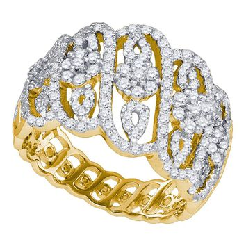 10kt Yellow Gold Womens Round Diamond Striped Cluster Fashion Band Ring 1.00 Cttw