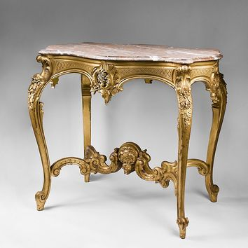 19th C. Hand Carved Italian Rococo Center Table With Marble Top
