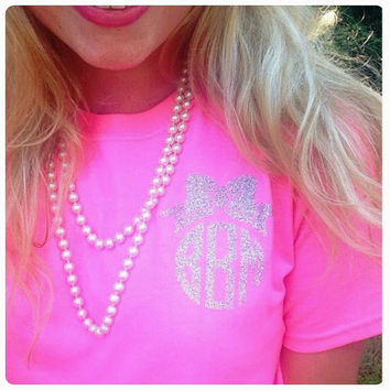 Monogrammed Bow Tshirt. Bow Monograms. Bow. Circle Monogram. Glitter Monogram. Sparkle. Bridesmaid Gift. Short Sleeve Shirt. Tshirt.