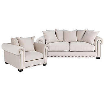Z Gallerie - Chic Combo - Linden Sofa & Chair - Buckwheat