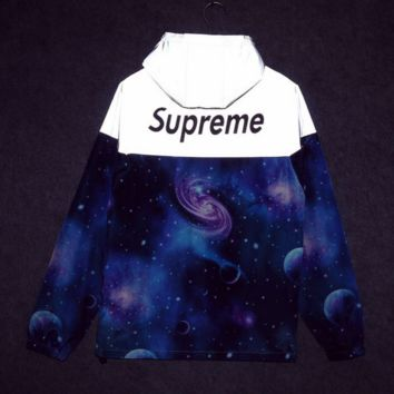 Supreme Unisex Lighting Windbreaker Spureme Thin and thick reflective clothes Blue starry sky  hoodies Back