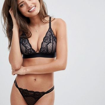 ASOS FULLER BUST Lizzie Dobby & Lace Triangle Bra at asos.com