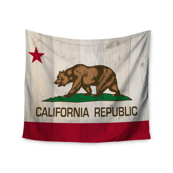 "Bruce Stanfield ""California Flag Wood"" Brown Wall Tapestry"