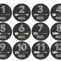Months In Motion - Baby Month Stickers - Monthly Baby Sticker for Girls - Tribal Arrows (1106)