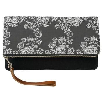 Monochrome Girly Lace Pattern Clutch