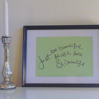 Just be bountiful... - black on light green - DIN A4 - Wall Art Print handmade written - original by misssfaith