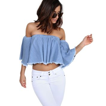 Blue Circa Denim Crop Top