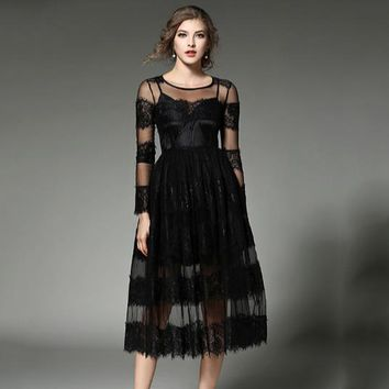 European Style 2019 Spring Dress Women Cute Waist Embroideried Party Formal Long Lace Dresses Vestidos E316