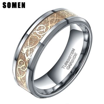 Somen Ring Men Real Tungsten Ring 8mm Gold Celtic Dragon Inlay Polished Engagement Rings Wedding Band Fashion Party Men Jewelry