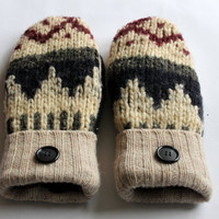 Wool Mittens from Recycled Sweaters - Cream, Blue, Cranberry - Size Medium Womens