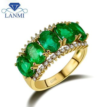 Vintage Solid 18Kt Yellow Gold Oval Natural Green Emerald Ring Pretty Diamond Gemstone Jewelry for Mother Birthday Gift