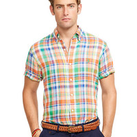 Polo Ralph Lauren Short-Sleeved Plaid Linen Shirt