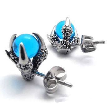 UMGODLY Gothic Punk Dragon Claw Stud Earrings High Quality Stainless Steel Earrings Fashion CZ
