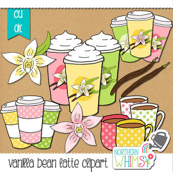 "Spring Clip Art - ""Vanilla Bean Latte"" - coffee clipart with a tropical theme - coffee, orchid, and vanilla illustrations - commercial use"
