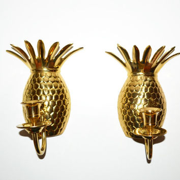 Vintage Brass Pineapple Candle holders Pineapple Wall Sconce Pineapple Candle Holders Mid Century Modern Pineapples