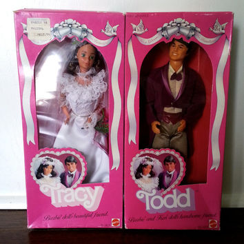 Vintage 1982 Barbie Todd and Tracy wedding dolls MIB NRFB