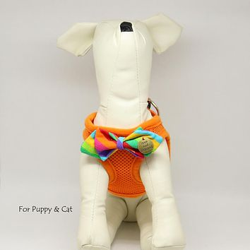 Puppy harness with bow tie, Dreamly Rainbow bow, Love and Beloved, Mesh harness, Lightweight, Breathable, Comfortable,Washable harness
