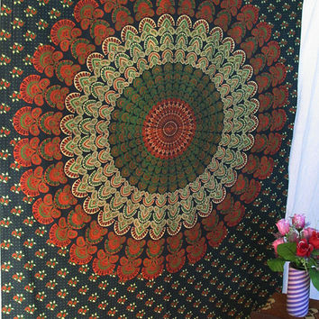 Green Small Indian Barmeri Mandala Printed Cotton Tapestry Wall Hanging Hippie Bedspread Throw Home Decor