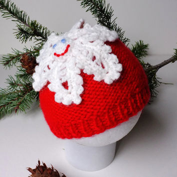 Snowflake Baby Girls Beanie Hat Knit Red and White Beanie Christmas Gift Cute Hats by Mila Winter Knitted Hat Fun Beanie Baby Shower Gift