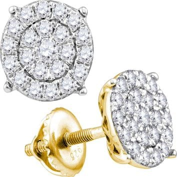 10kt Yellow Gold Women's Round Diamond Cindy's Dream Cluster Earrings 1/4 Cttw