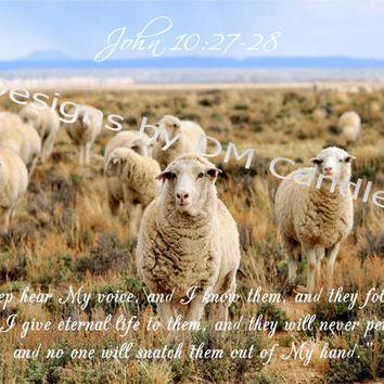 John 10:27-28 and our Lord's call to His sheep, blue and beige, inspirational art, art ready to frame, home or office wall decor, wall print