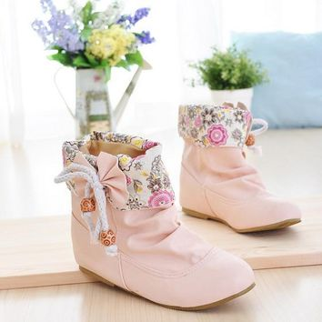 New Women Pink Round Toe Flat Bow Floral Print Sweet Ankle Boots
