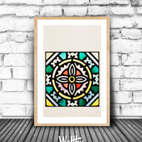 Stained Glass, Home decor, Living Room decor, Colored print, Church Window, Wall Art Print, Modern Printable, Minimalist Poster, Download