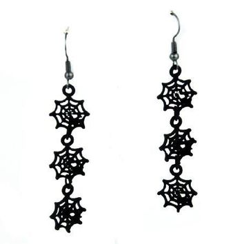 3 Hanging Spider Web Earrings Gothic Jewelry Cosplay