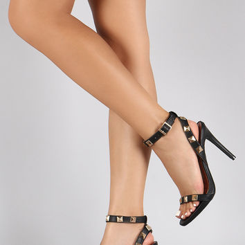 Dollhouse Pyramid Straps Cushioned Open Toe Heel