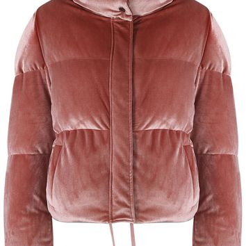 Velvet Funnel Neck Quilted Jacket- ROSE