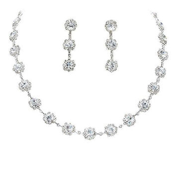 Crystal Clear Floral Crystal Rhinestone Collar Necklace Necklace Set Bridal Bridesmaid Prom
