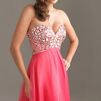 Prom Dresses, Celebrity Dresses, Sexy Evening Gowns at PromGirl: Long Strapless Night Moves Prom Dress 6411