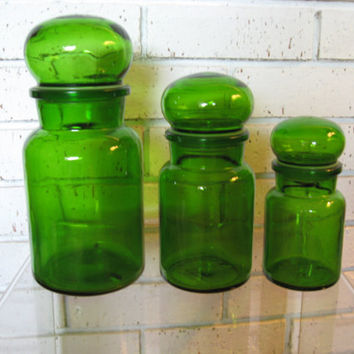 Set of 3 Vintage Green Glass Apothecary Jars Made in Belgium