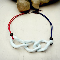 Large Ceramic Links necklace, White Porcelain necklace on Red & Navy Faux Suede string,Natural Clay necklace,Nautical Summer Stylish jewelry