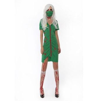 Corpse party dress horror zombie costume cosplay green nurse costume lingerie zipper up cosplay dress w1877