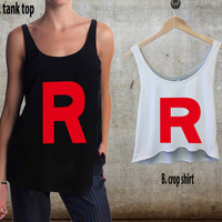 Team Rocket For Woman Tank Top , Man Tank Top / Crop Shirt, Sexy Shirt,Cropped Shirt,Crop Tshirt Women,Crop Shirt Women S, M, L, XL, 2XL**