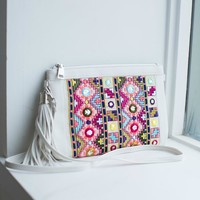 Colorful Embroidered Glitz Clutch