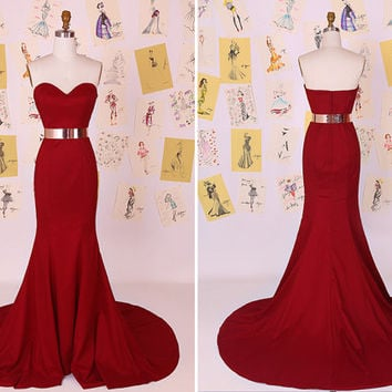 Dark Red Sweetheart Mermaid Long Prom Dress/Little Mermaid Evening Dress/Red Mermaid Prom Dress/Sexy Mermaid Prom Dress DAF0026